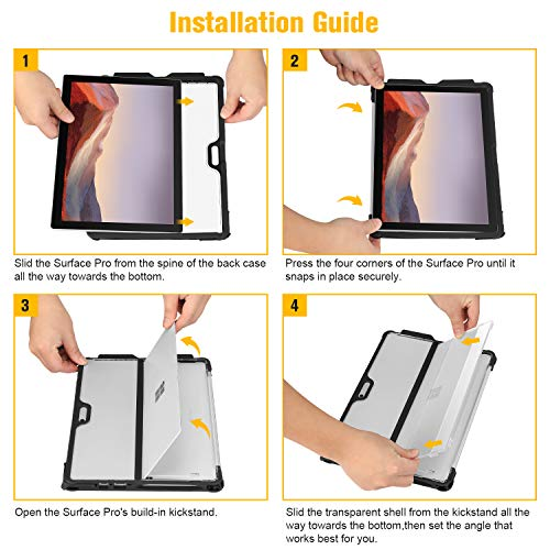 Fintie Case for Microsoft Surface Pro 7/ Pro 6/ Pro 5/ Pro LTE, Shockproof Protective Rugged Cover with Pen Holder and Hard Shell Kickstand Cover, Compatible with Type Cover Keyboard, Frost Clear