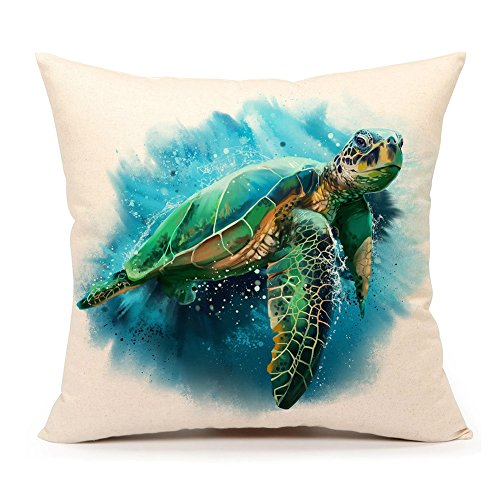 Sea Turtle Cover - 4TH Emotion Sea Turtle Throw Pillow Cover Summer Beach Decor Cushion Case Decorative for Sofa Couch 18