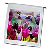 3dRose fl_174365_1 Image of Pretty Tulips and Butterflies in Purple and Fuchsia Garden Flag, 12 by 18-Inch
