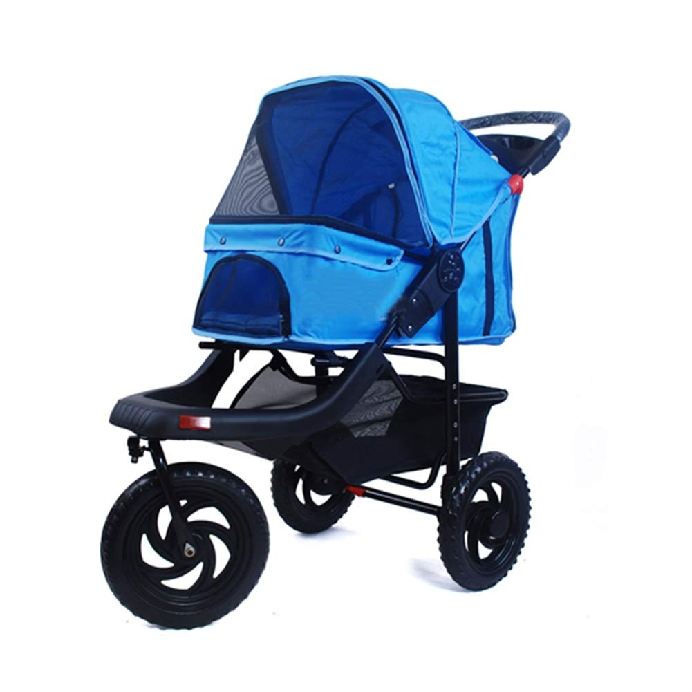bluee Ryan Dog Strollers, Outdoor Luxury Senior Trolley Foldable 3 Wheels Cart For Large Pet Car golden Retriever Elderly Disabled Dogs Cart (color   bluee)