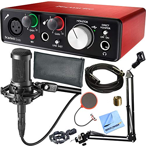 Focusrite Scarlett Solo (2nd Gen) USB Audio Interface with Pro Tools Plus Audio-Technica AT2035 Condenser Microphone and DecoGear Pop Filter Wind Screen with Mic Stand Studio Bundle