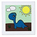 3dRose qs_13797_1 Cute Baby Blue Dinosaur Scene Quilt Square, 10 by 10-Inch