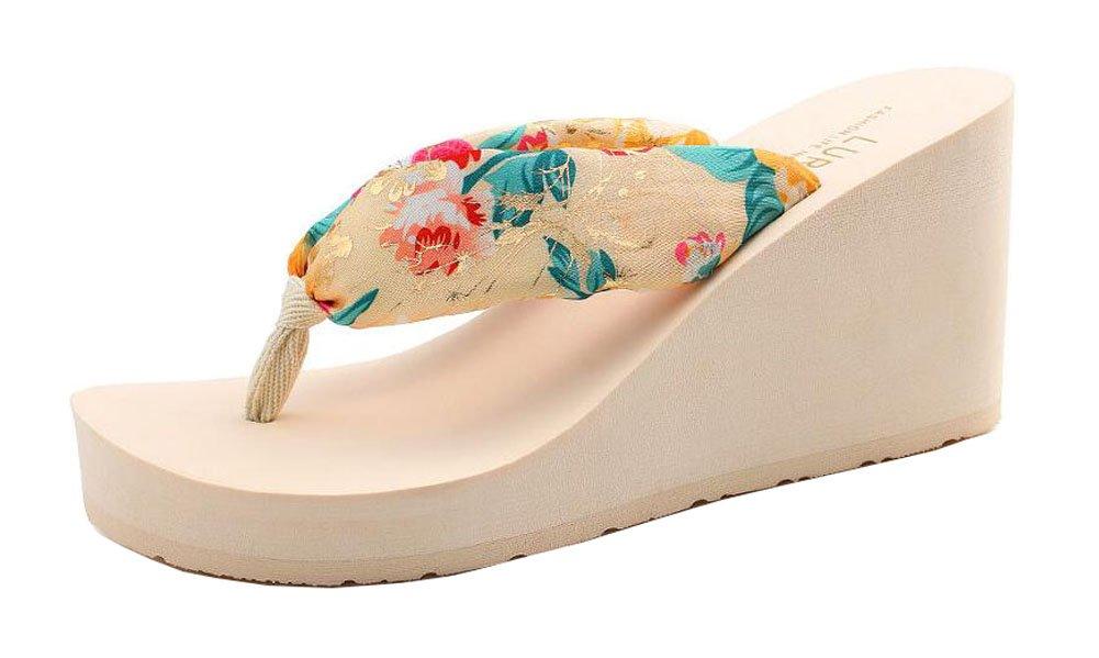 Zapatos De Plataforma Chicas Playa De Color Crema Flip Flops Black Temptation