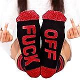 Unisex Cotton Socks FUCK OFF Novelty Letters Funny Socks Crew Socks Red