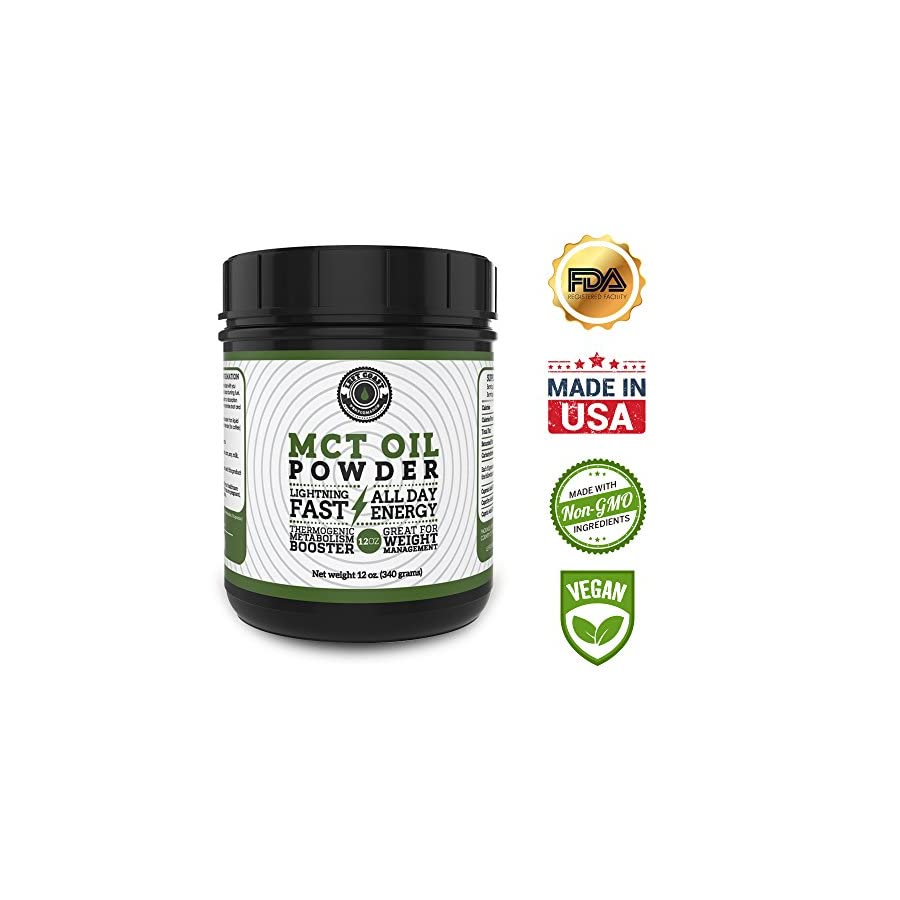 MCT Oil Powder from Coconuts, Creamy and Blends Easily, Great as a coffee creamer, weight loss and pre workout. Left Coast Performance. 12 oz