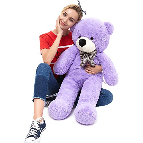 MaoGoLan 39 Inch Big Teddy Bear Large Stuffed Animal Toys Big Teddy Bear for Girlfriend Children Huge Oversize Stuffed Animals Bear Purple