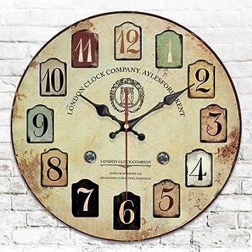 Y-Hui Retro relojes decorativos de jardín de madera Reloj de pared en el Salón, el dormitorio y los modelos de 16 pulgadas J: Amazon.es: Hogar