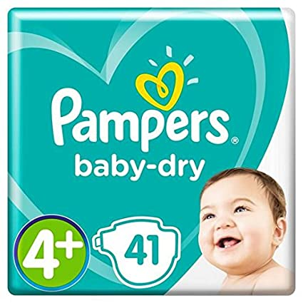 Pampers Baby Dry Pañales Tamaño 4+ Esencial Pack de 41 por paquete