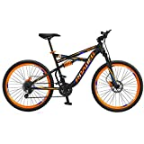 "Baheti Enterprises Hercules Roadeo Hannibal 27.5"" 21 Speed Dual Suspension Dual Disc Brake Sporty Matte Black & Orange Steel Bike/Bicycle For Boys"