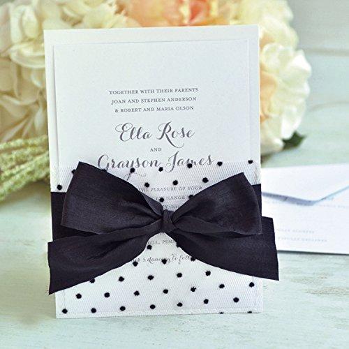 Black White Invitations - Gartner Studios 13756 Black and White Dot Fabric Invitation 25ct