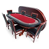 BBO Poker Rockwell Poker Table for 10 Players with Red Speed Cloth Playing Surface, 94 x 44-Inch Oval, Includes Matching Dining Top with 6 Dining Chairs Review