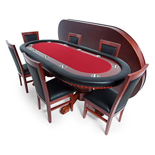 BBO Poker Rockwell Poker Table for 10 Players with Red Speed Cloth Playing Surface, 94 x 44-Inch Oval, Includes Matching Dining Top with 6 Dining (Oak Oval Folding Table)