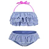 Big Girls Two Piece Bikini Swimsuit Striped Ruffle Swimwear Flounce Bathing Suit Set 10T