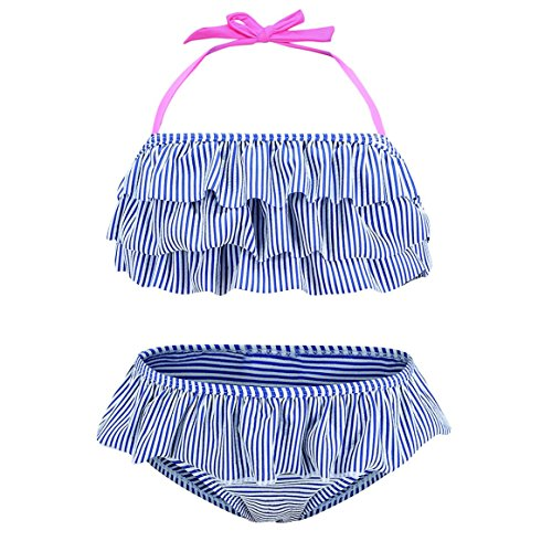 HowJoJo Toddler Girls Two Piece Bikini Swimsuit Striped Ruffle Swimwear Flounce Bathing Suit Set 3T by HowJoJo