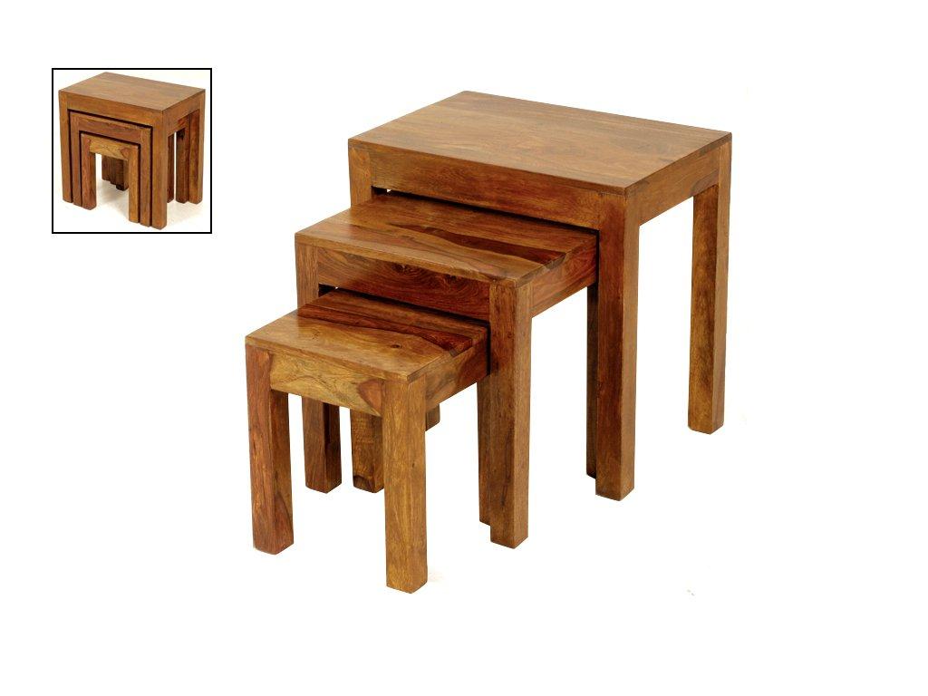 Cube Sheesham Nest of 3 Tables - Jali Thakat Nesting Tables Set of 3 - Finish : Mid Brown Sheesham - Living Room Furniture THE ONE