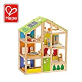 All Seasons Kids Wooden Dollhouse by Hape | Award Winning 3 Story Dolls House Toy with Furniture, Accessories, Movable Stairs and Reversible Season Theme