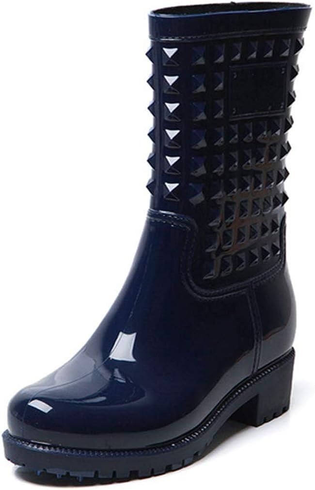 Stivali Pioggia Donna Stivali Gomma Impermeabili Stivaletti Hunter Alti Wellington Boots Lavoro Antiscivolo Scarpe Giardino Piatto Invernali Nero Blu