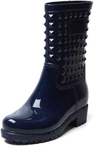 Hitmars Bottes De Pluie Femme Bottes Caoutchouc Impermeable Hiver Bottines Neige Plate Antidérapant Wellington Boots Travail Fourrees Pas Cher Classic