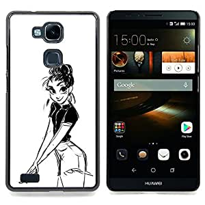 - Girl Pencil Drawing Sexy Look Shorts Big Eyes - - Snap-On Rugged Hard Cover Case Funny HouseFOR HUAWEI Ascend Mate 7
