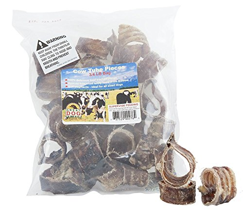 (Great Dog Cow Tube Pieces (Beef Trachea) - 3/4 Pound Bag (Sourced & Made in USA))