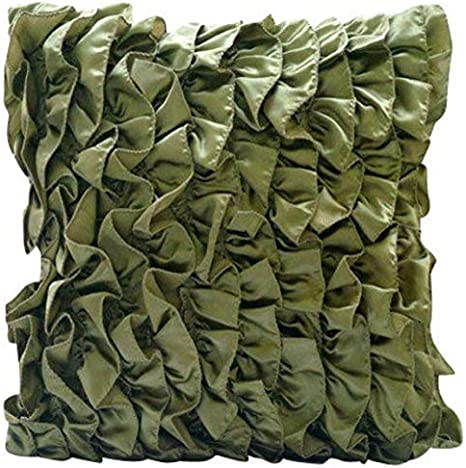 The Homecentric Olive Green Decorative Pillow Cover Vintage Style Ruffles Shabby Chic Pillow Covers 18x18 Inch 45x45 Cm Decorative Pillow Covers Satin Throw Pillows Cover Solid Vintage Olives Home