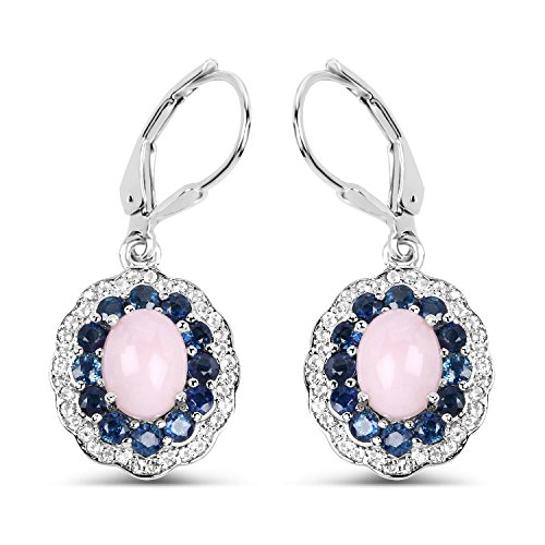 3.60 Carat Genuine Pink Opal, Blue Sapphire and White Topaz Solid .925 Sterling Silver Earrings