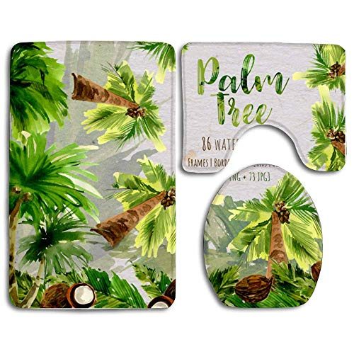 3-Piece Palm Tree Bathroom Rug Set, Include Bath Mat, Toilet Cover and Contour Rug Ultra with Anti-Slip Backing