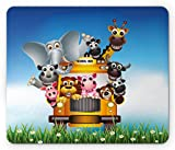 Lunarable Kids Mouse Pad, Funny Animals on a School Bus Zoo Theme with Elephant Cow Zebra Lion Piggy and Giraffe, Standard Size Rectangle Non-Slip Rubber Mousepad, Multicolor
