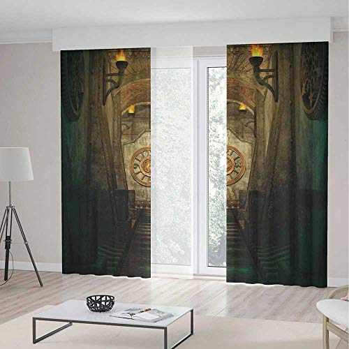 Blackout Curtains,Arrow,Window Drapes for Bedroom Living Room Deco,Medieval Passage with Torch and Golden Clock on Wall Mystery in Temple Print Decorative,Theme,Living Room Bedroom Window Drapes,2 Pan -