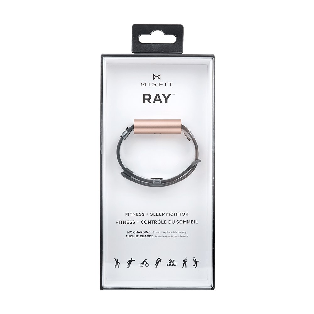 Misfit Ray - Fitness + Sleep Tracker with Gray Leather Band (Rose Gold) by Misfit Wearables (Image #4)