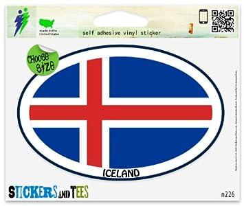 Iceland Euro Oval Vinyl Car Bumper Window Sticker 3 X 2 Decals