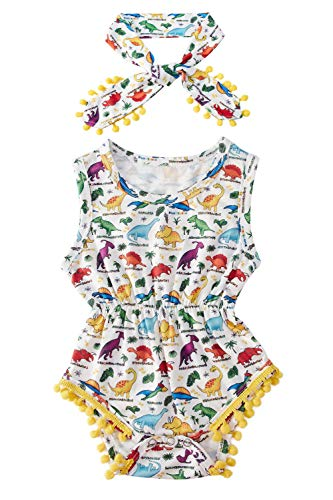 (Colourful Dinosaur Design Soft Cotton Blend Slim Fit Hawaii Creeper Romper Outfit Cute Tassel Vacation Trip Street Play Wear Onesie Layette,1St Birthday Gifts, Two Piece, White Gold, 6-12)