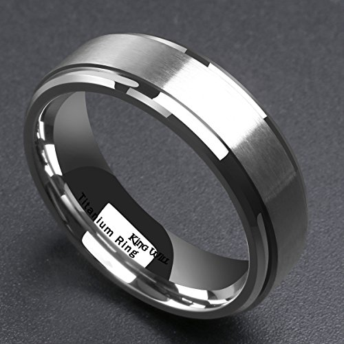 King Will 7mm Mens Titanium Ring Wedding Band Brushed Matte Finished Engagement Ring Comfort Fit 10.5