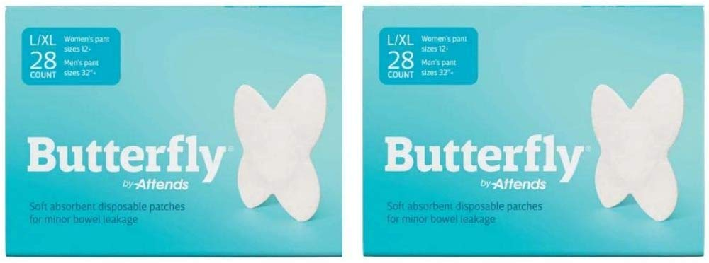 Butterfly Pads Body Liners for Bowel Leaks - Womens L/XL Large 28 Count 2 Pack