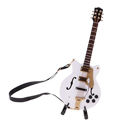 2pcs 1//6 Wooden Mini Instrument Guitar with Stand for Dollhouse Decoration