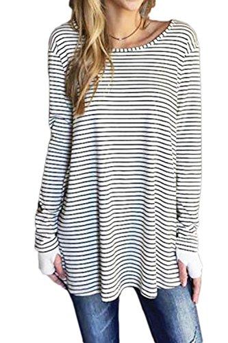 Fanvans Womens Casual Stripes Tunic Long Sleeve Thumb Hole Side Slit Shitrs