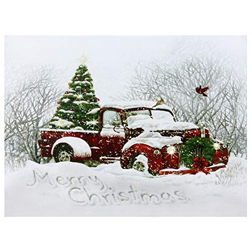 Northlight LED Fiber Optic Red Truck and Tree Christmas Canvas Wall Art 15.75