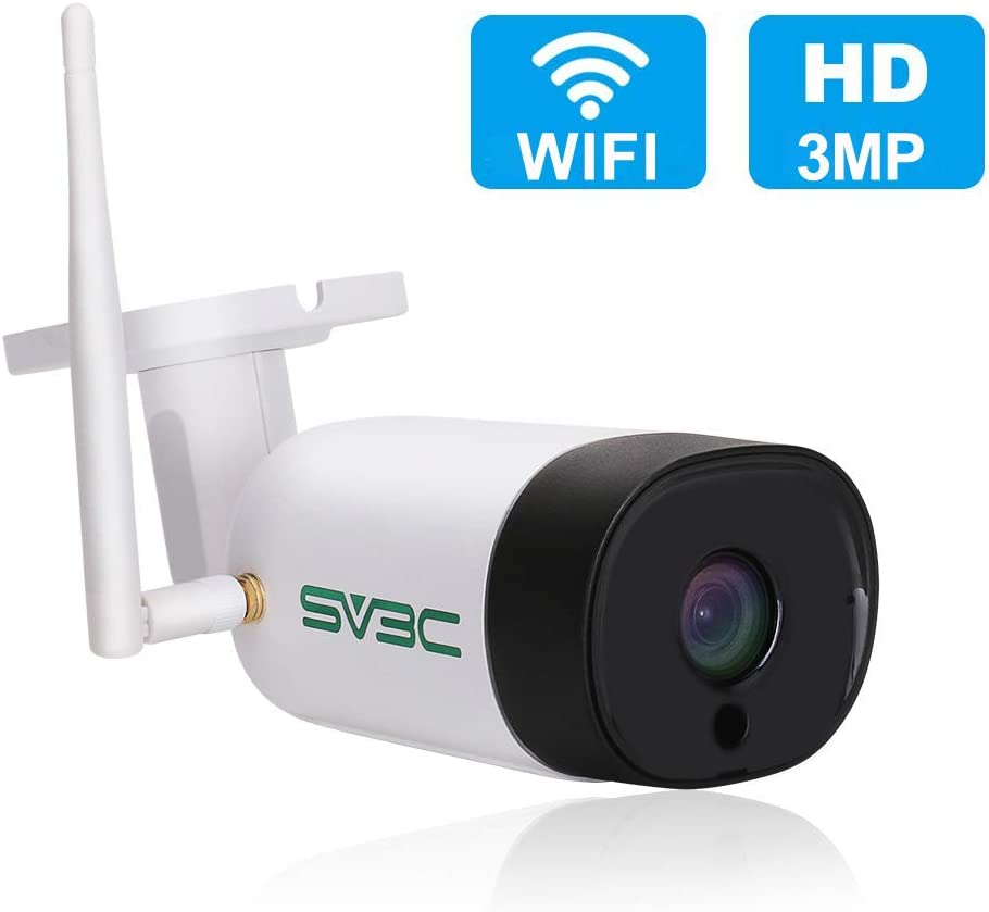 SV3C Two-Way Audio WiFi Camera Outdoor, 3MP Wireless Surveillance Camera, Motion Detection Security Camera, IR Night Vision IP Camera, IP66 Waterproof CCTV Outdoor Indoor, Support Max 128GB SD Card
