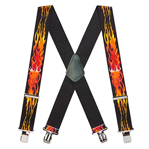 Suspender Store Men's Orange Flames Suspenders - 2 Inch Wide Clip