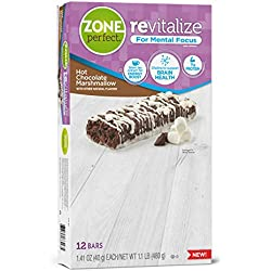 ZonePerfect Revitalize Energy Bars, with Caffeine For Mental Focus, Hot Chocolate Marshmallow, 1.41 oz, 12 count
