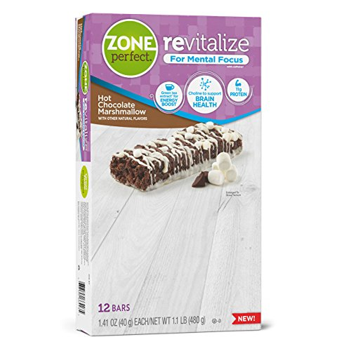 Hot Cocoa Bar - ZonePerfect Revitalize Energy Bars, with Caffeine For Mental Focus, Hot Chocolate Marshmallow, 1.41 oz, 12 count