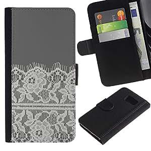 KingStore / Leather Etui en cuir / Samsung Galaxy S6 / Flores de ganchillo Tela de costura
