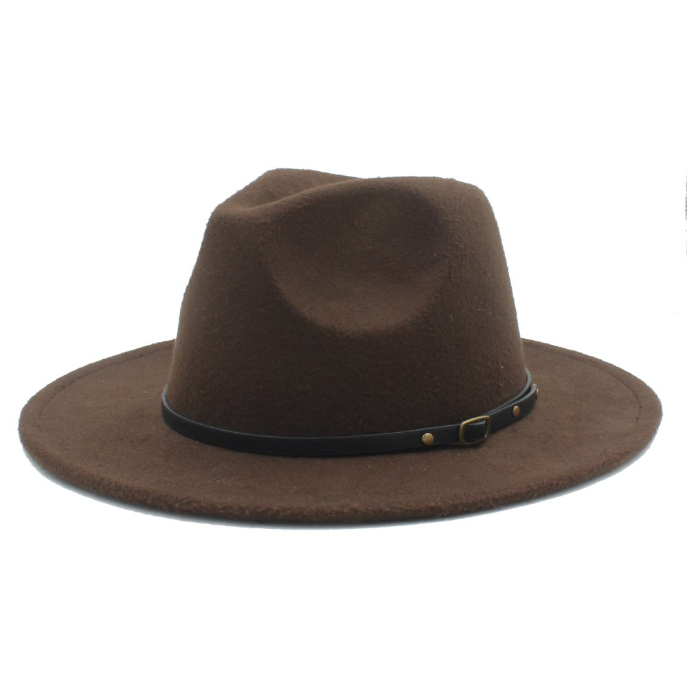 Battle Men Women's Wool Fedora Wide Brim Hats with Thin Leather Belt ( Color : 3 , Size : 57-58cm )