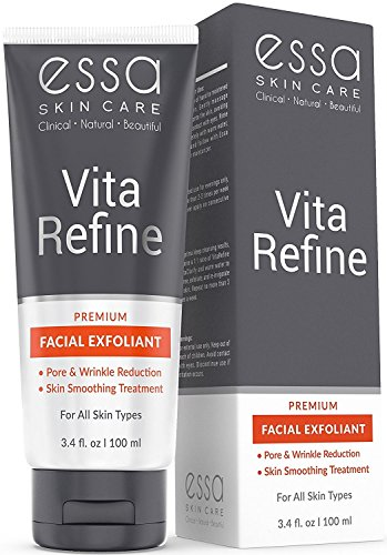ESSA - VitaRefine - Premium Organic Microderm Face Scrub Treatment with Glycolic and Lactic Acid for Anti Aging, Skin Smoothing, and Wrinkle Refinement benefits. (3.4 oz)