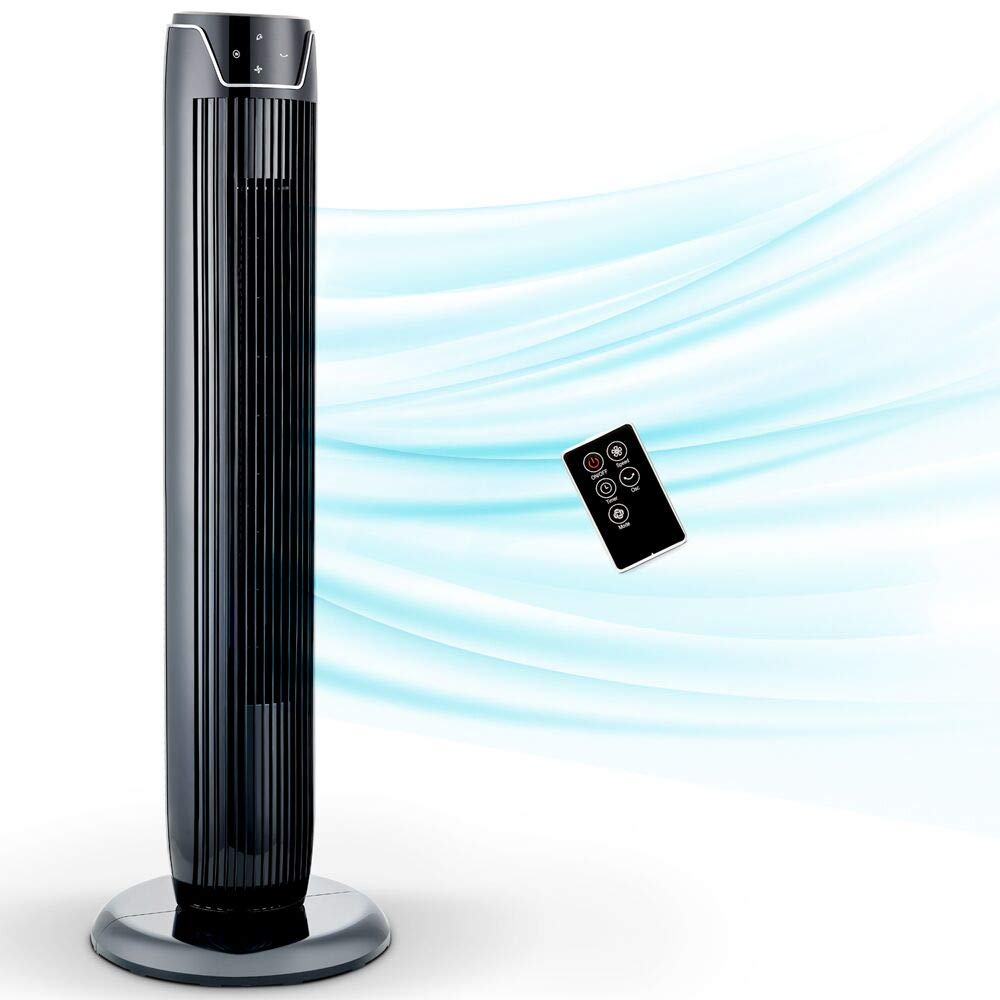 Tower Fan, Oscillating Fan with Quiet Cooling 3 Wing Mode, 3 Speed   and Remote Control, up to 7h Timer, LED Display, Low Noise Whole Room Floor Fan, 36 -Inch, Black by PELONIS