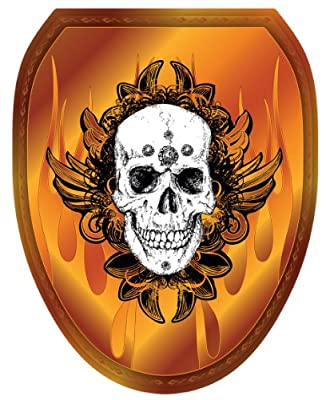 Toilet Tattoos, Toilet Seat Cover Decal, Skull Flames, Size Elongated
