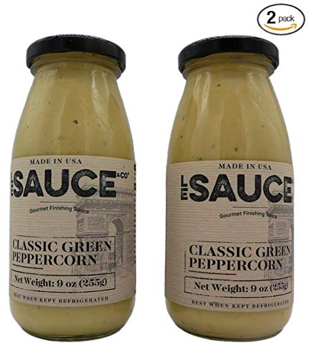 (Le Sauce Gourmet Classic Green Peppercorn Finishing Sauce, great on steak, fillet, pork chops, vegetables, foodie verified (2-Pack))