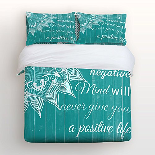 Crystal Emotion 4 Piece Duvet Cover Set Bedspread for Childrens/Kids/Teens/Adults,Bohemian Stripe Turquoise Boho Chic on Vintage Rustic Country Wood,Queen Size ()