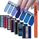 WOKOTO 7Pcs Shinny Nail Polish Strips Stickers Full Nails Self-Adhesive Nail Decals For Women With 1Pc Nail Buffers Files