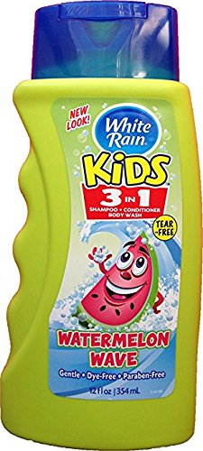 White Rain Kids NO TEARS / 3in1 Zany Watermelon Shampoo, Conditioner and Body Wash 12 oz (Pack of 3)